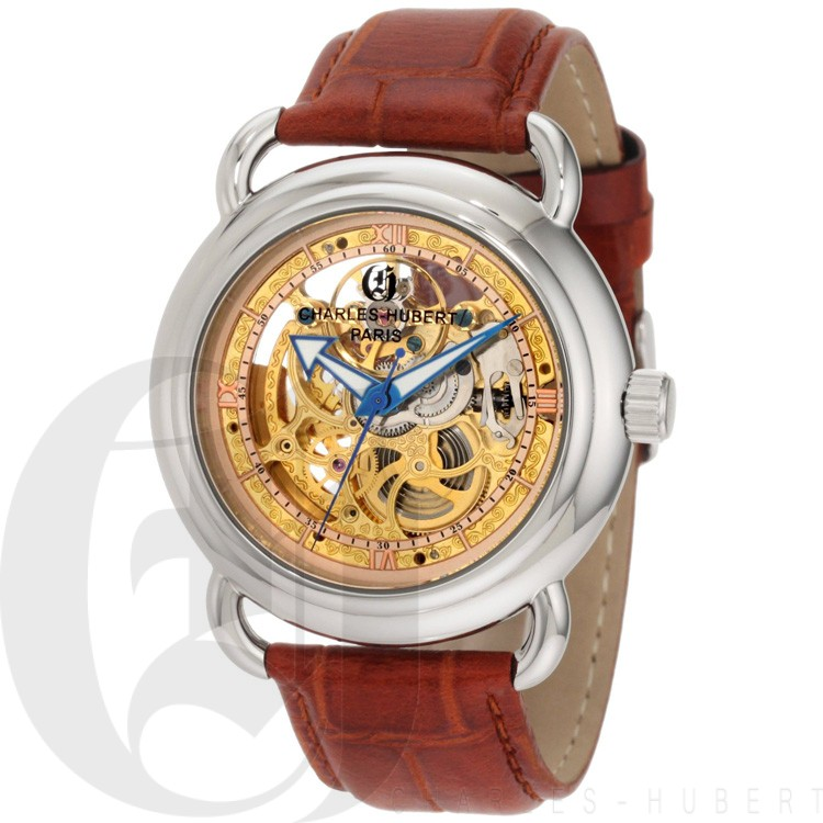Charles-Hubert Men's Stainless Steel Skeleton Dial Automatic Watch #3889-A