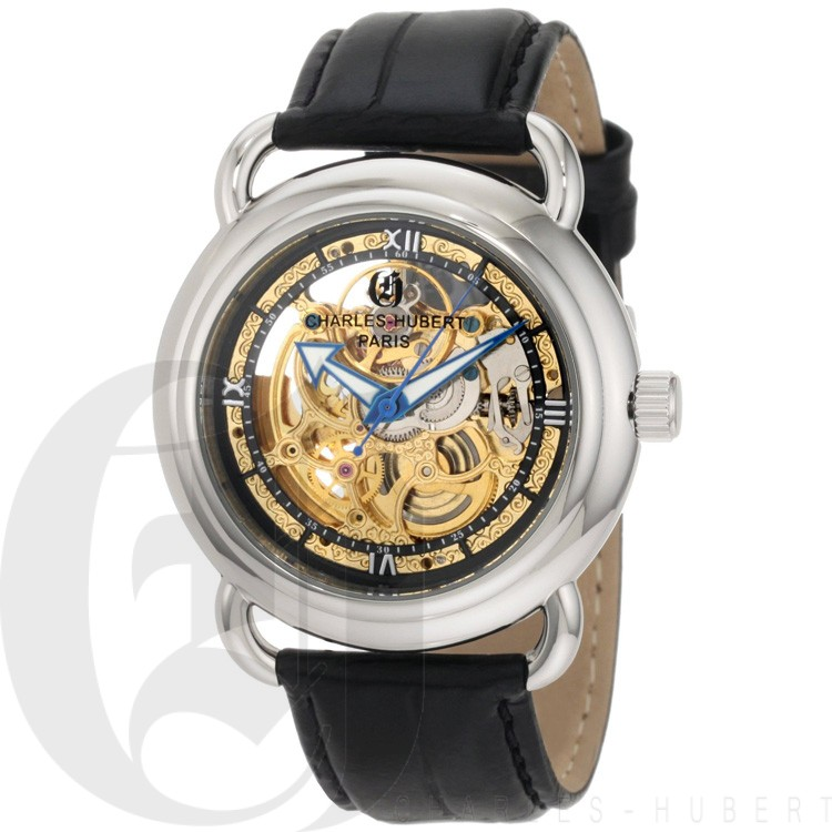 Charles-Hubert Men's Stainless Steel Skeleton Dial Automatic Watch #3889-B