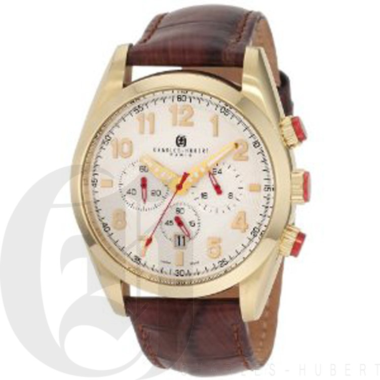 Charles-Hubert Men's Gold-Plated Stainless Steel White Dial Chronograph Watch #3895-G