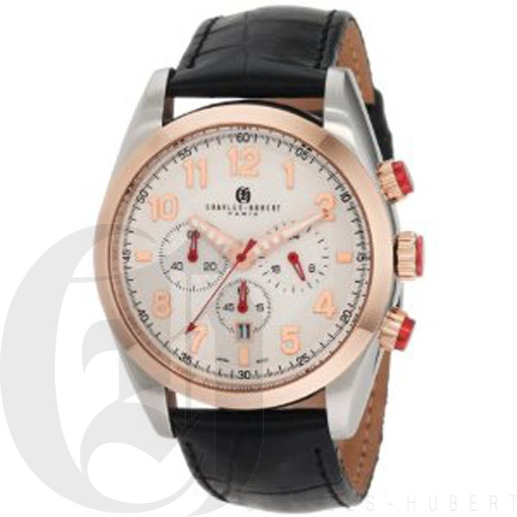 Charles-Hubert Men's Rose Gold-Plated Bezel Stainless Steel White Dial Chronograph Watch #3895-RG