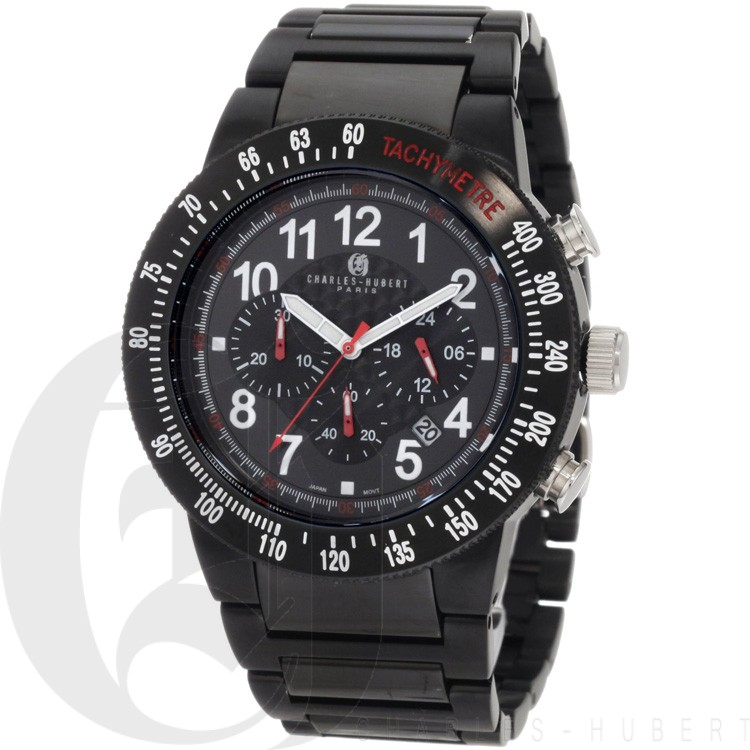 Charles-Hubert Men's Stainless Steel Black Dial Chronograph Watch #3896-B