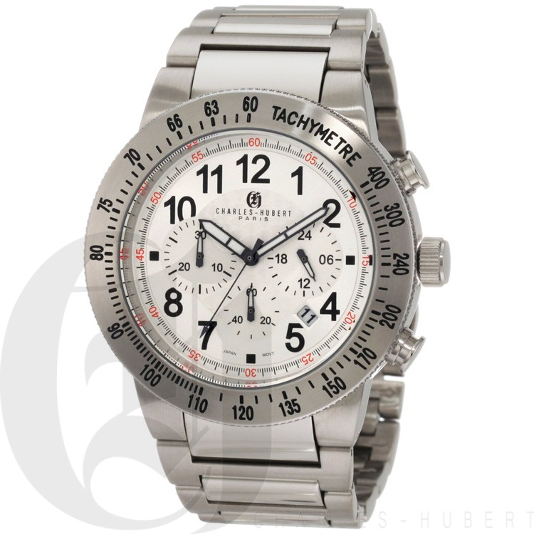 Charles-Hubert Men's Stainless Steel White Dial Chronograph Watch #3896-WW