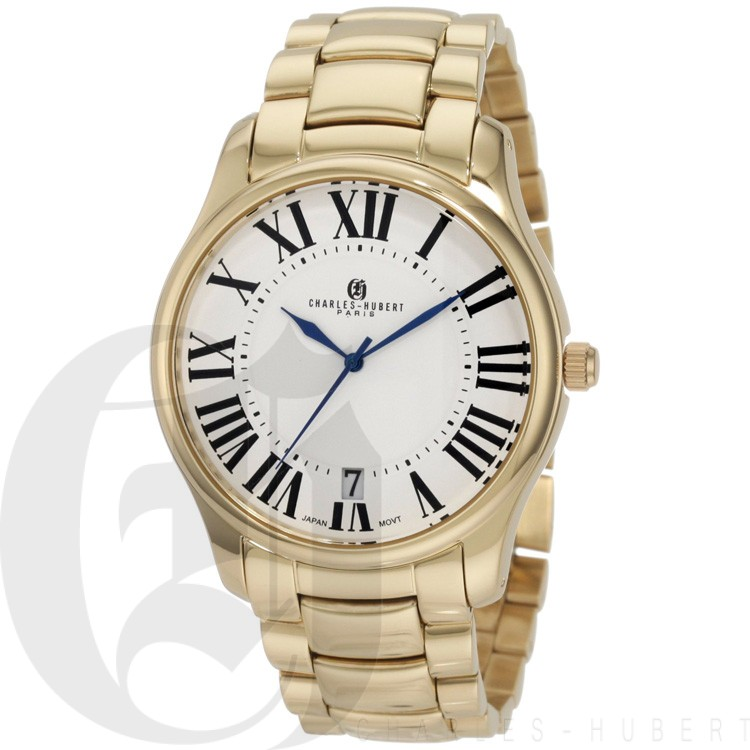 Charles-Hubert Men's Gold-Plated Stainless Steel White Dial Quartz Watch #3897-G