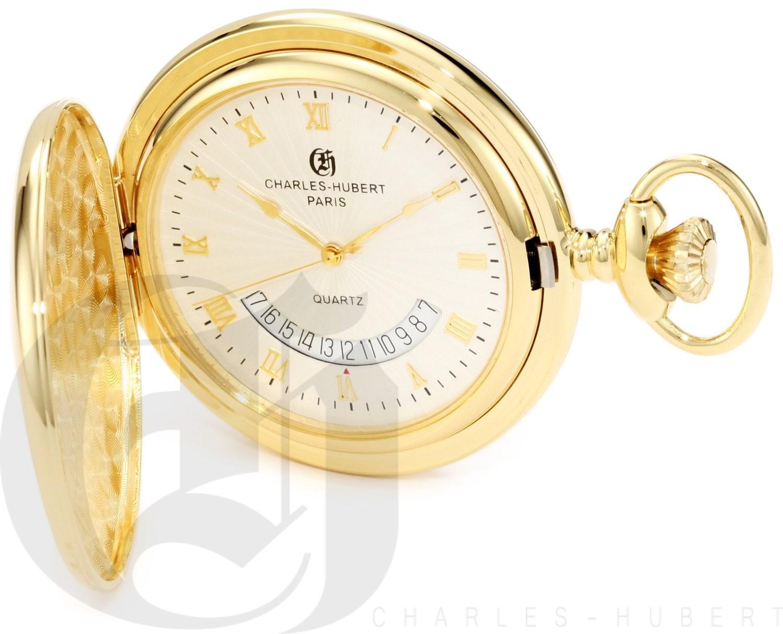 Charles-Hubert Paris Gold-Plated Polished Finish Hunter Case Quartz Pocket Watch