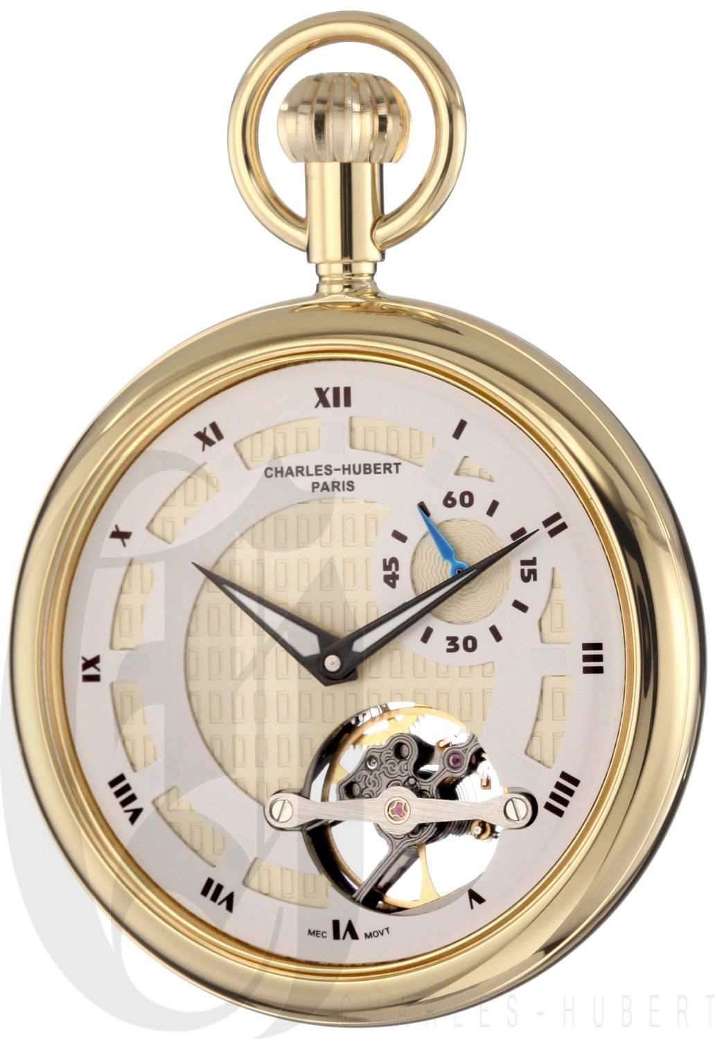 Charles-Hubert Paris Gold-Plated Open Face Mechanical Pocket Watch