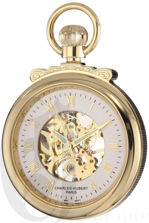 Charles-Hubert Paris Gold-Plated Open Face Mechanical Pocket Watch
