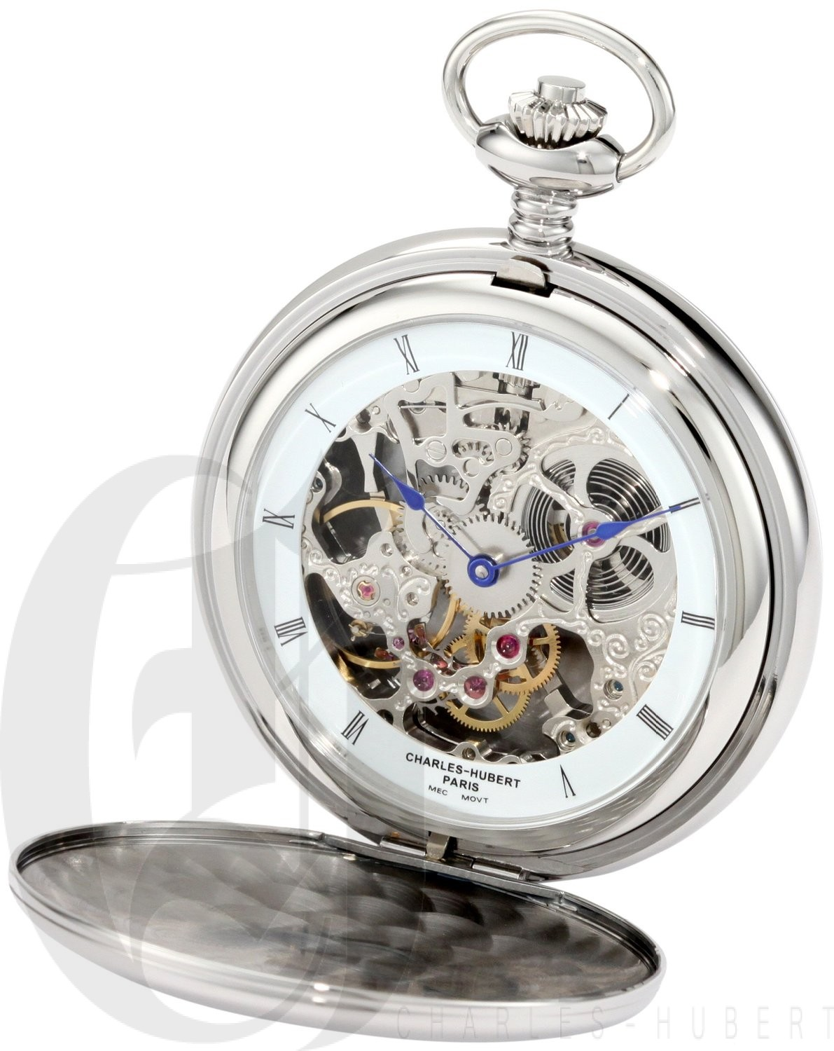 Charles-Hubert Paris Stainless Steel Polished Finish Double Hunter Case Mechanical Pocket Watch