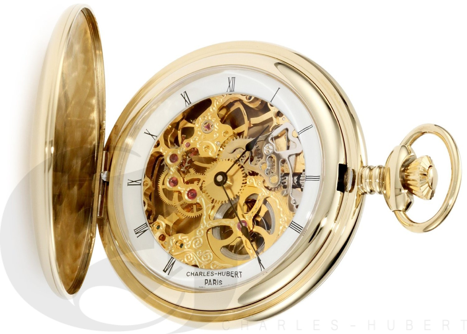 Charles-Hubert Paris Gold-Plated Stainless Steel Polished Finish Hunter Case Mechanical Pocket Watch