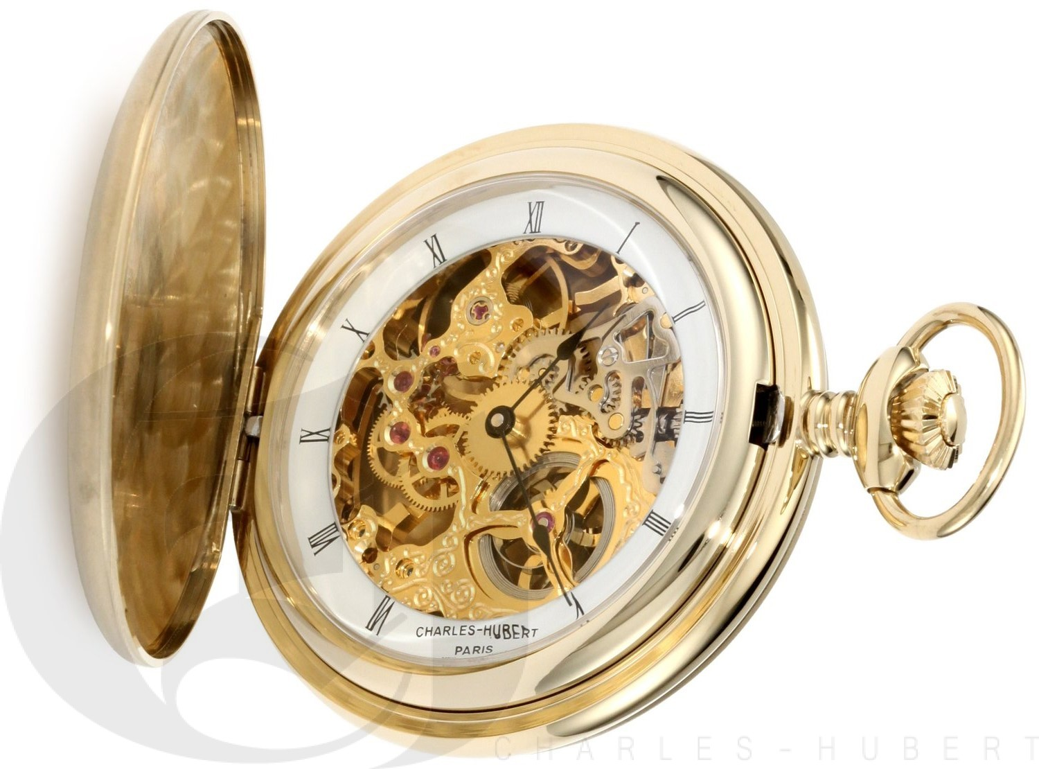 Charles-Hubert Paris Gold-Plated Stainless Steel Satin Finish Hunter Case Mechanical Pocket Watch