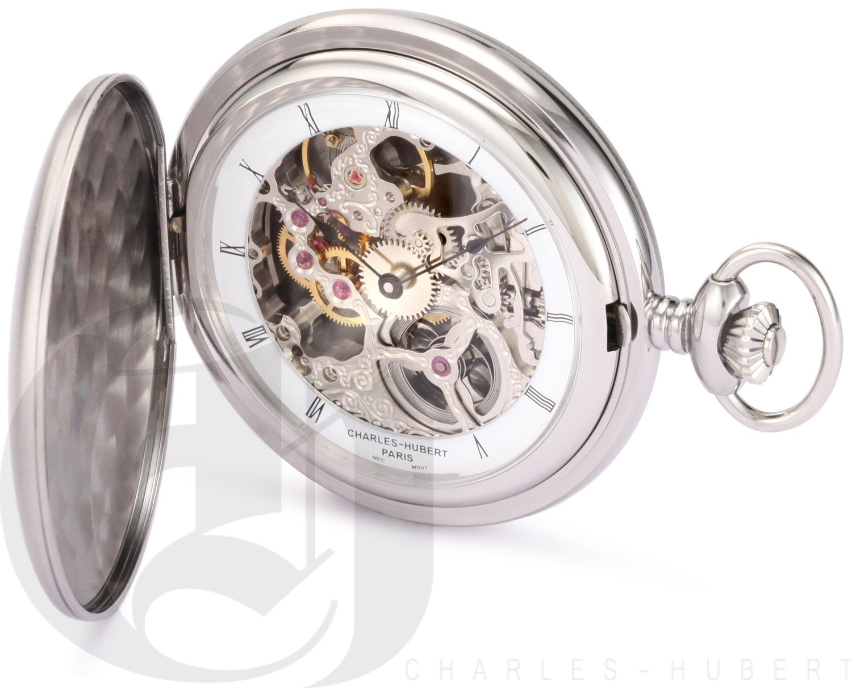 Charles-Hubert Paris Stainless Steel Satin Finish Hunter Case Mechanical Pocket Watch