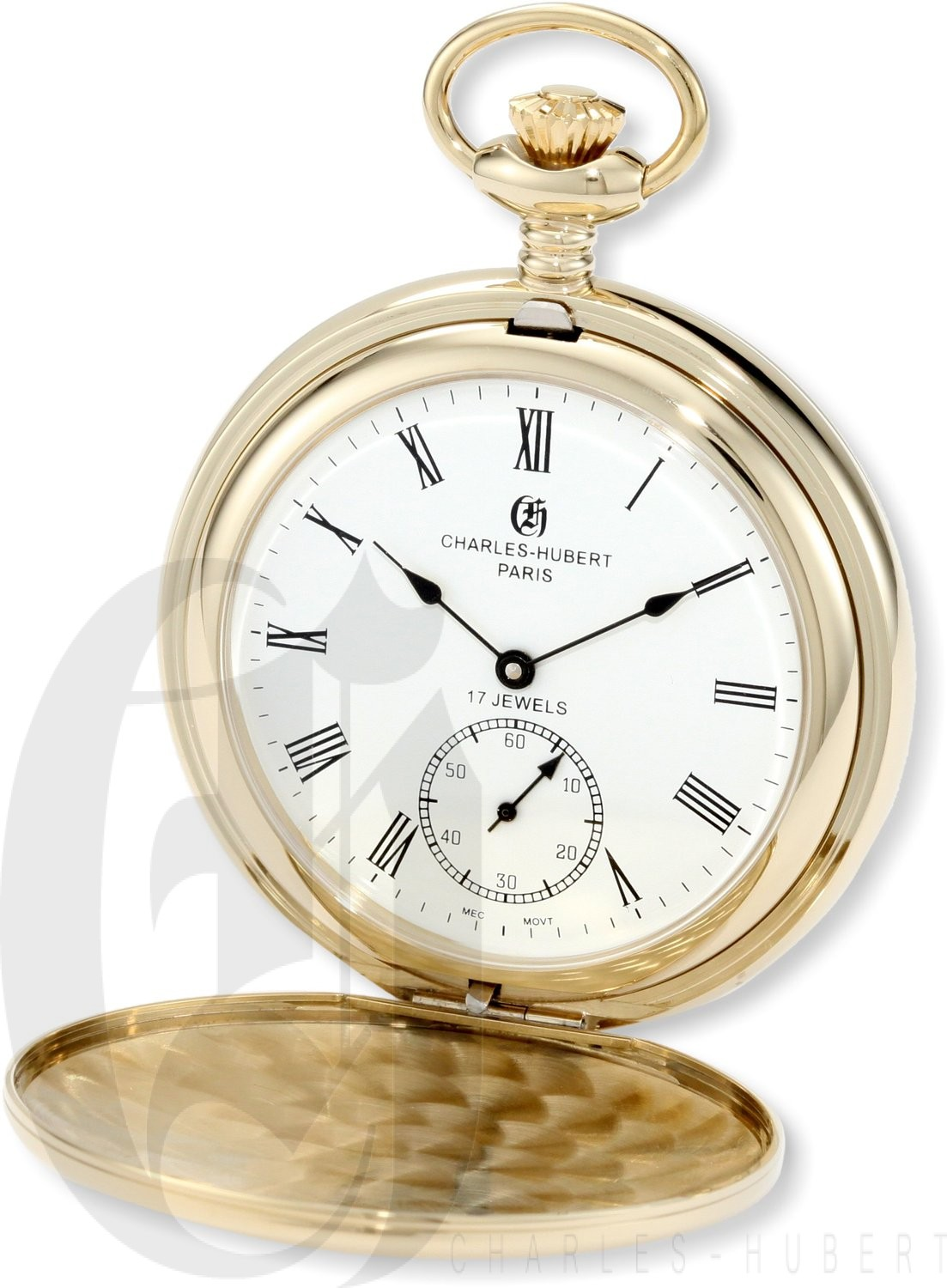 Charles-Hubert Paris Gold-Plated Stainless Steel Polished Finish Double Hunter Case Mechanical Pocket Watch