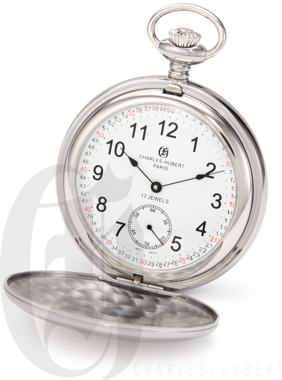 Charles-Hubert Paris Stainless Steel Satin Finish Double Hunter Case Mechanical Pocket Watch