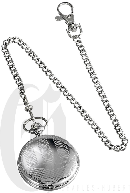Charles-Hubert Paris Stainless Steel Hunter Case Quartz Pocket Watch