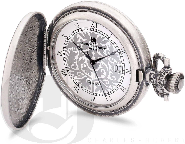 Charles-Hubert Paris Antique Chrome Finish Hunter Case Quartz Pocket Watch