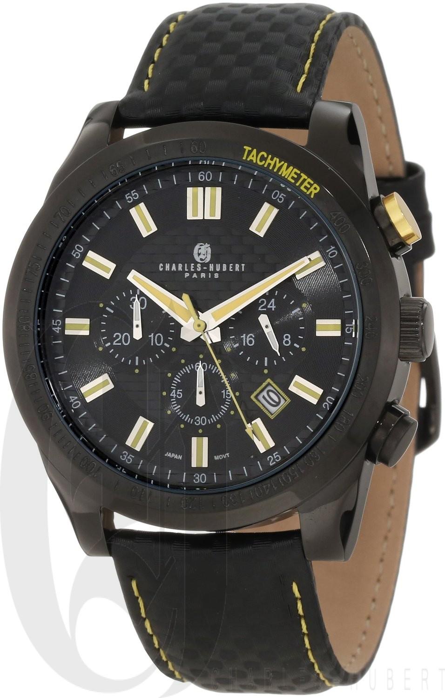 Charles-Hubert Paris Men's Black Plated Stainless Steel Chronograph Quartz Watch