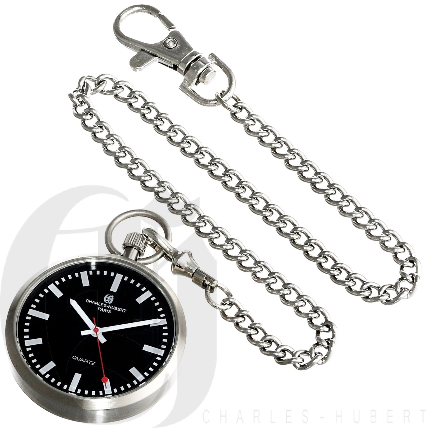 Charles-Hubert Paris Stainless Steel Open Face Quartz Pocket Watch