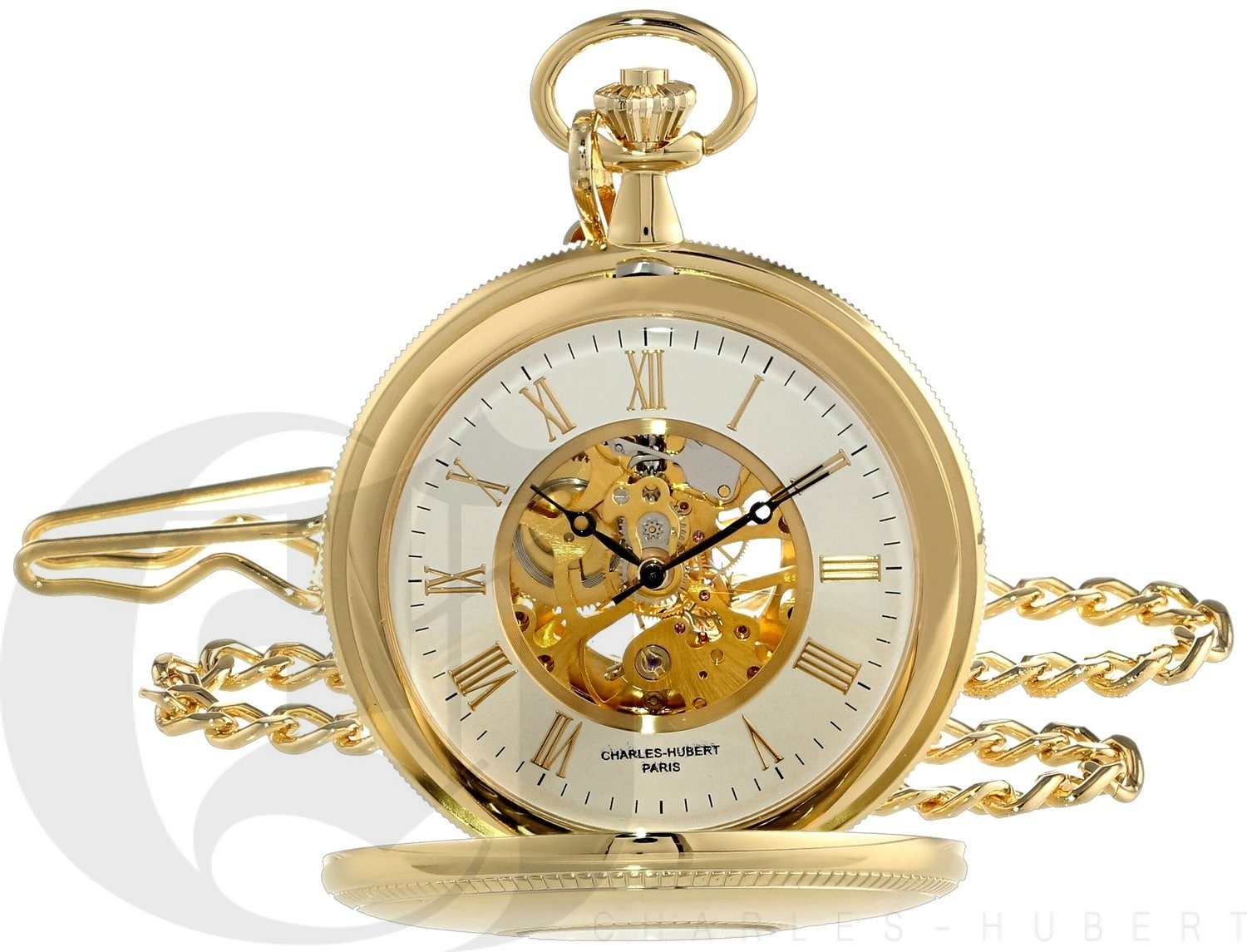 Charles-Hubert Paris Gold-Plated Polished Finish Double Demi-Hunter Case Mechanical Pocket Watch