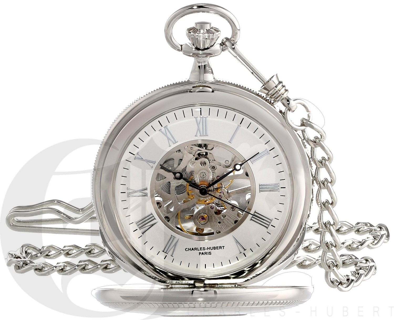 Charles-Hubert Paris Polished Finish Double Demi-Hunter Case Mechanical Pocket Watch