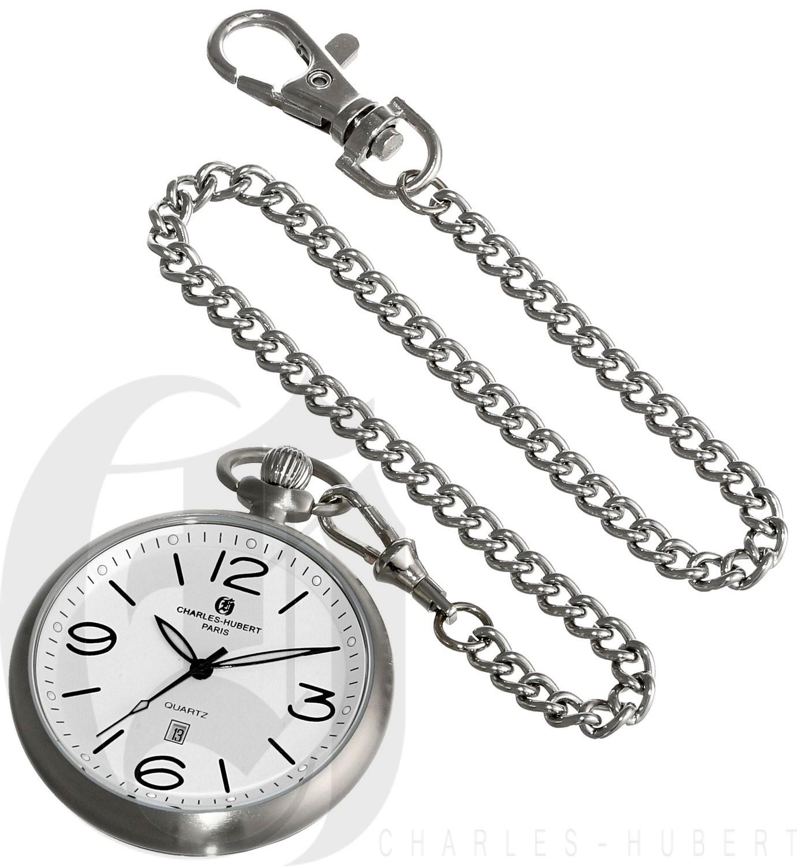Charles-Hubert Paris Stainless Steel Open Face Quartz Pocket Watch