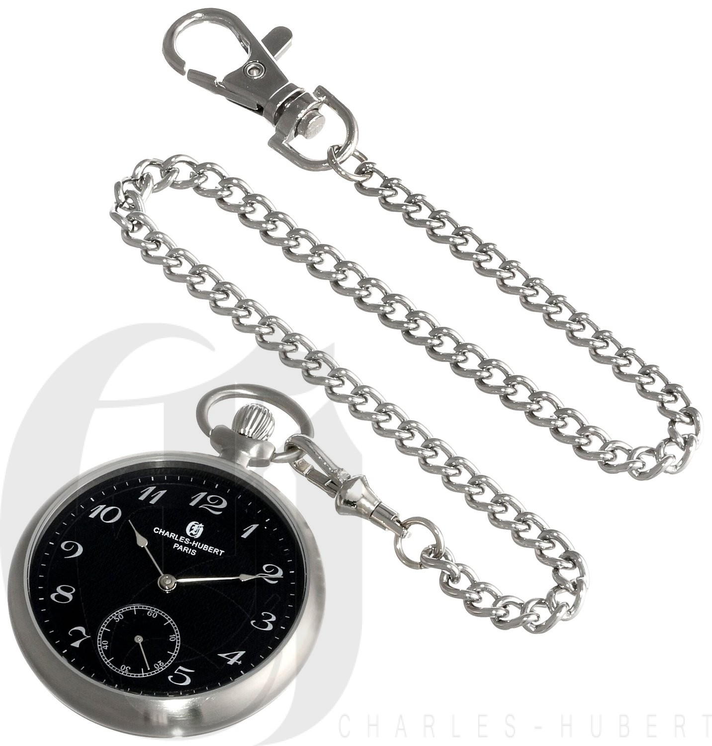 Charles-Hubert Paris Stainless Steel Open Face Mechanical Pocket Watch