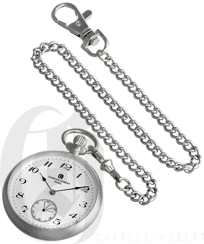 Charles-Hubert Paris Stainless Steel Open Face Mechanical Pocket Watch