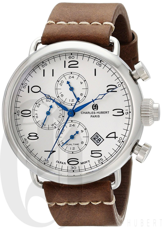 Charles-Hubert Paris Men's Stainless Steel Dual Time Quartz Watch