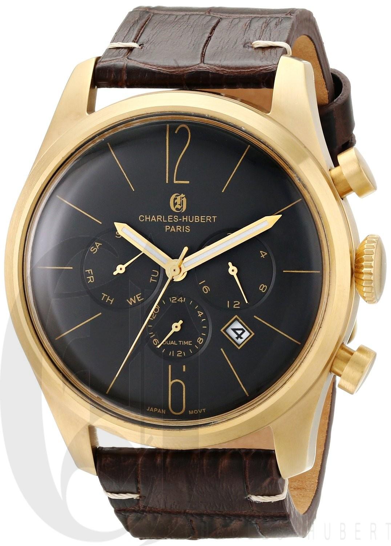 Charles-Hubert Paris Men's Gold-Plated Stainless Steel Dual Time Quartz Watch