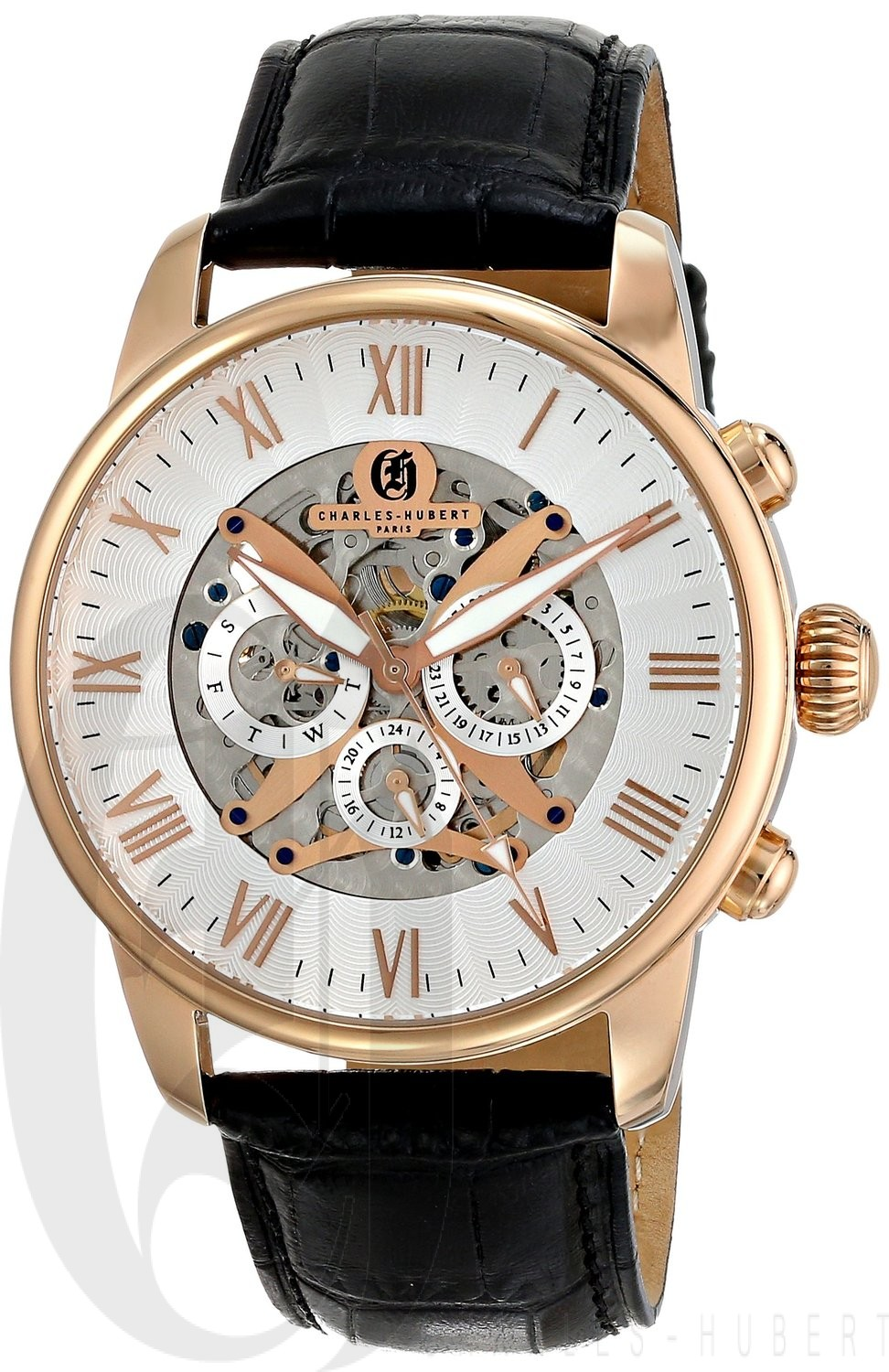 Charles-Hubert Paris Men's Rose-Gold Plated Stainless Steel Multifunction Automatic Watch
