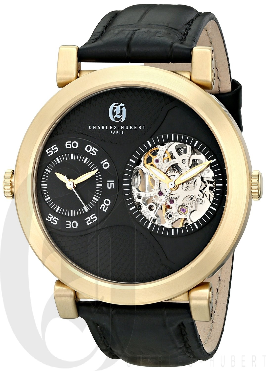 Charles-Hubert Paris Men's Gold-Plated Stainless Steel Dual Time Mechanical and Quartz Watch