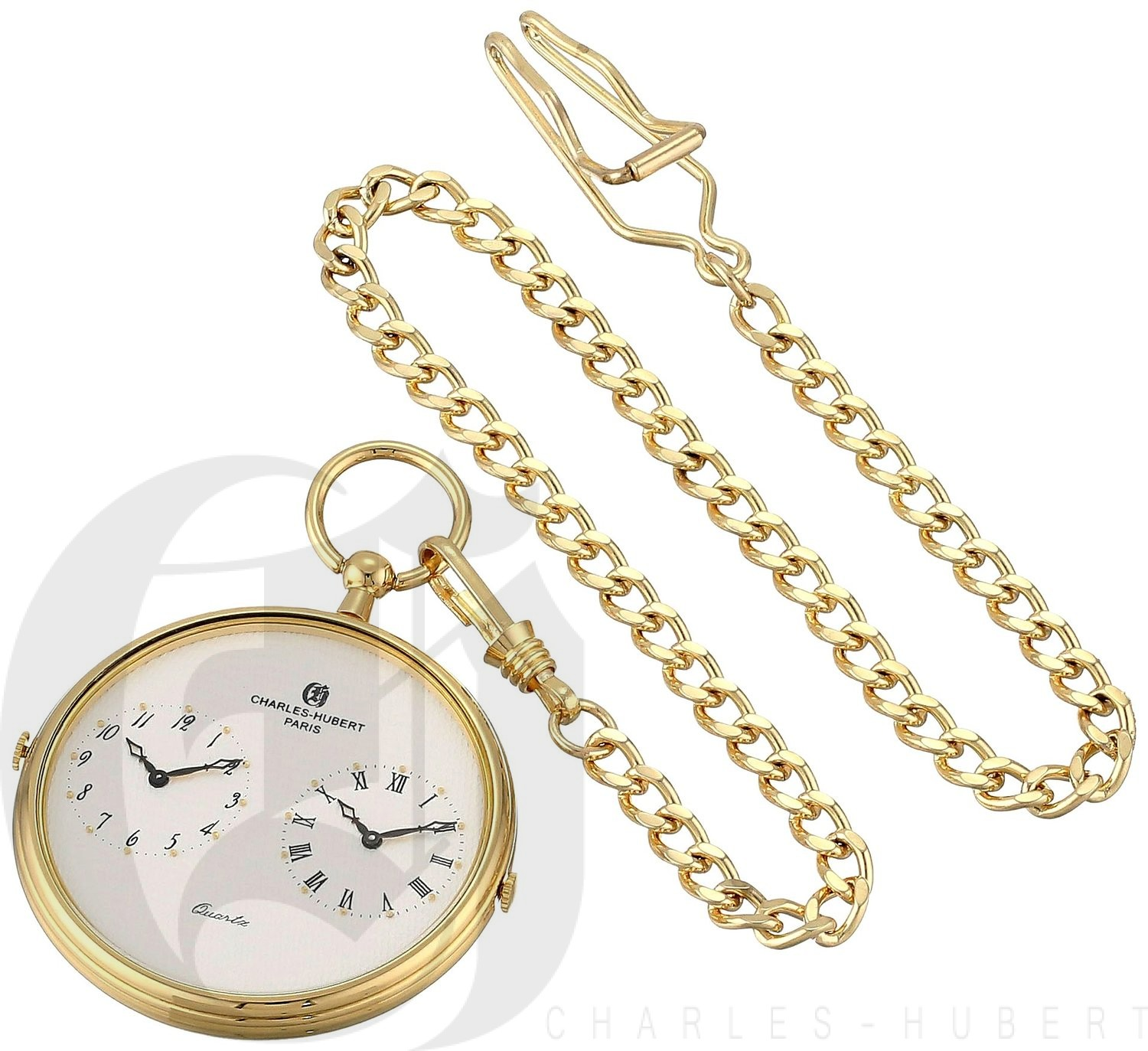 Charles-Hubert Paris Gold-Plated Dual Time Quartz Pocket Watch