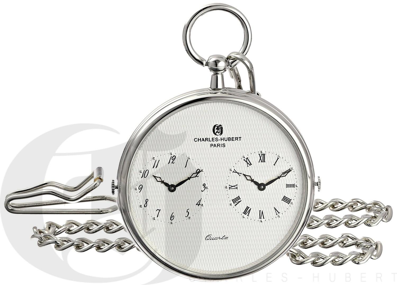 Charles-Hubert Paris Dual Time Quartz Pocket Watch