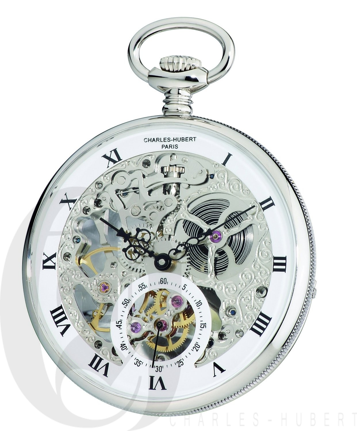 Charles-Hubert Paris Open Face Mechanical Pocket Watch