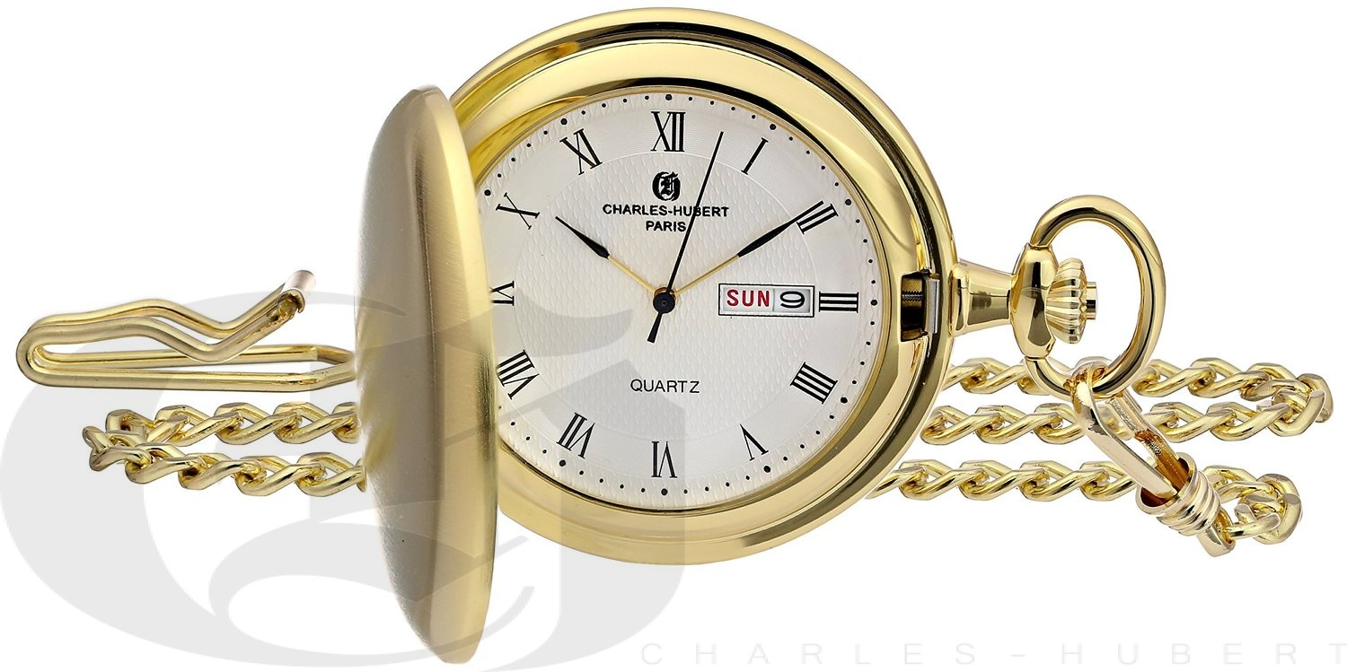 Charles-Hubert Paris Gold-Plated Satin Finish Hunter Case Quartz Pocket Watch