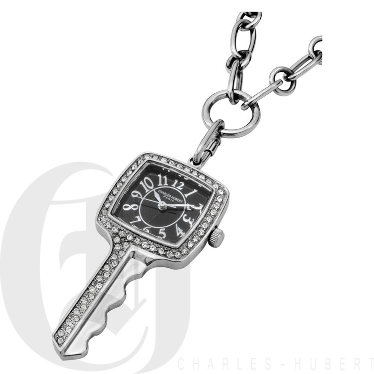 Stainless Steel Key Shape Pendant with Swarovski Crystal