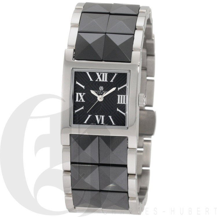 Charles-Hubert Women's Stainless Steel Black Ceramic Band Quartz Watch #6787-B