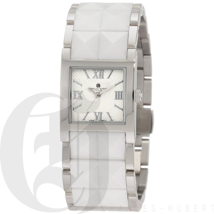 Charles-Hubert Women's Stainless Steel White Ceramic Band Quartz Watch #6787-W