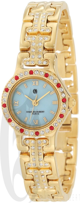Charles-Hubert Paris Women's Gold-Plated Quartz Watch with 4 Interchangeable Bezels