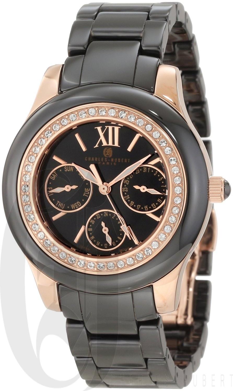 Charles-Hubert Paris Women's Rose-Gold Plated Stainless Steel and Ceramic Quartz Watch