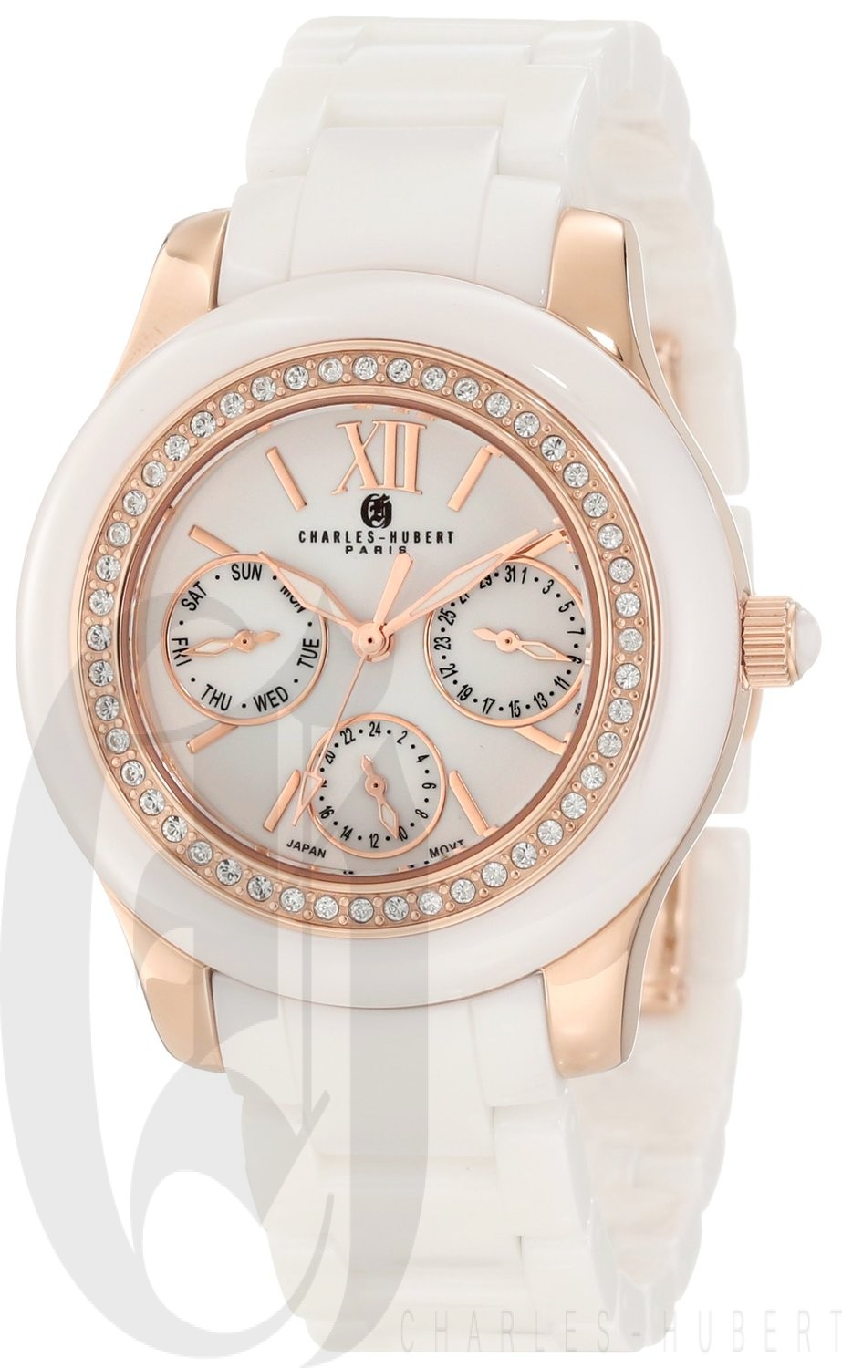 Charles-Hubert Paris Women's Rose-Gold Plated Stainless Steel and Ceramic Quartz Watch