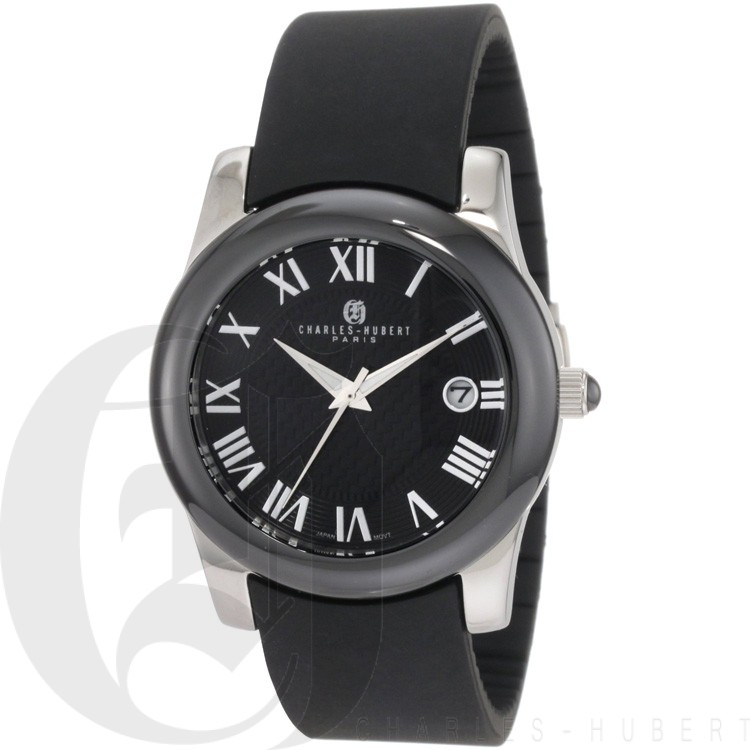 Charles-Hubert Women's Stainless Steel Black Ceramic Bezel Quartz Watch #6888-B