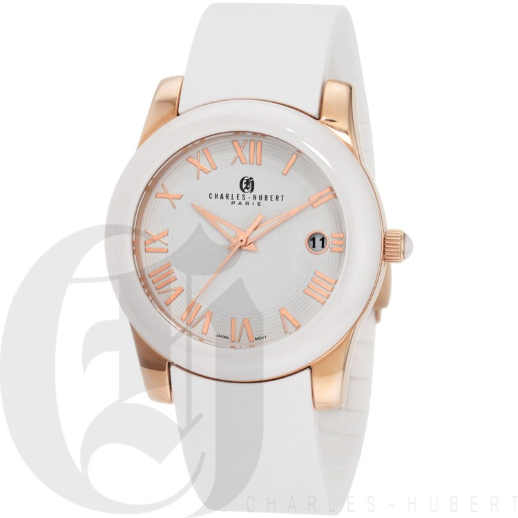Charles-Hubert Women's Rose Gold-Plated Stainless Steel White Ceramic Bezel Quartz Watch #6888-WRG