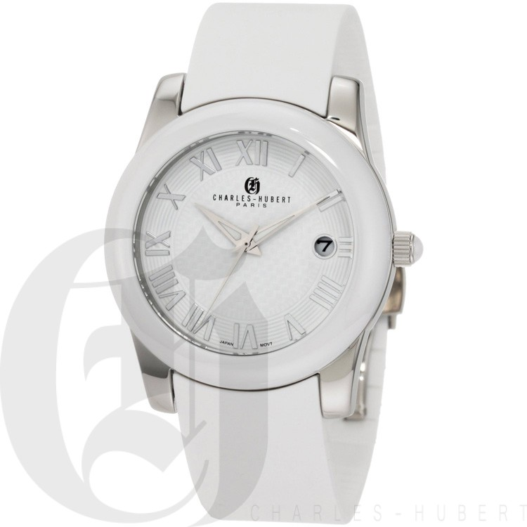 Charles-Hubert Women's Stainless Steel White Ceramic Bezel Quartz Watch #6888-W