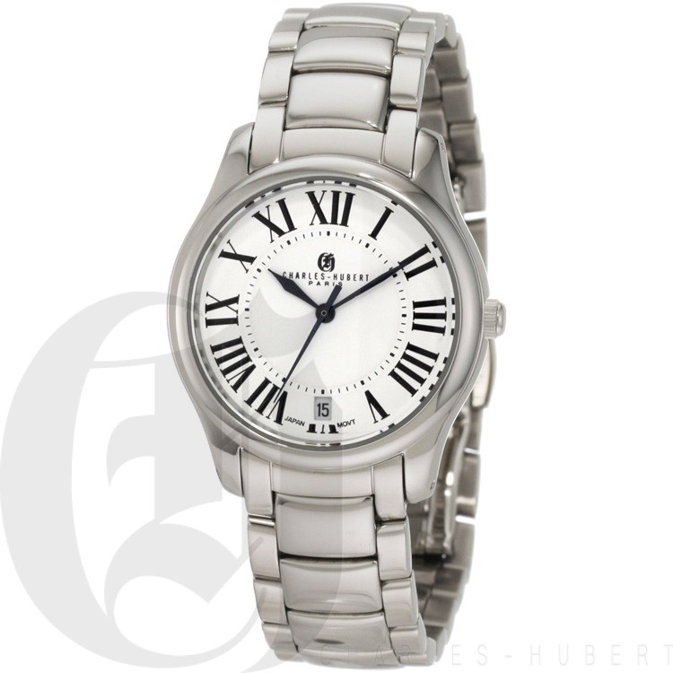 Charles-Hubert Women's Stainless Steel White Dial Quartz Watch #6897-W
