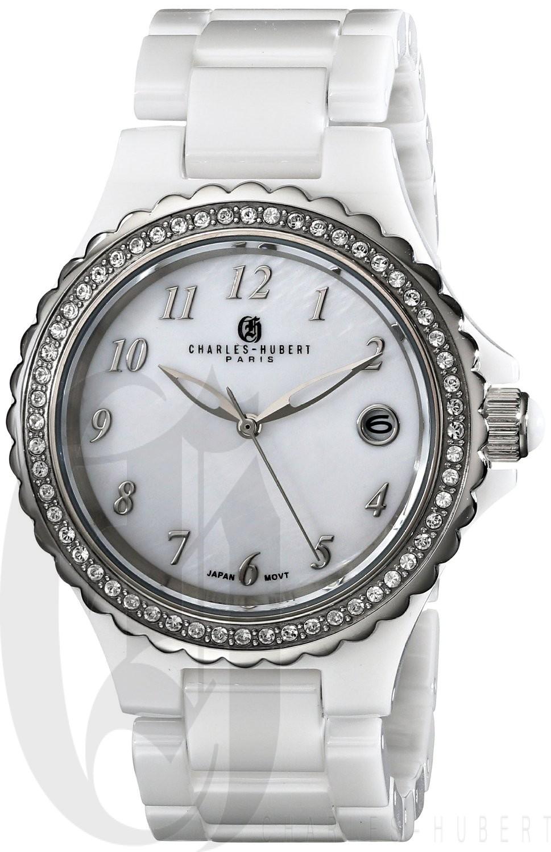 Charles-Hubert Paris Women's White Ceramic Quartz Watch