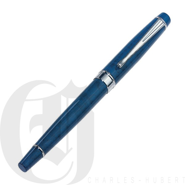 Blue Marbleized Metal Rollerball Pen