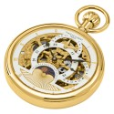 Gold-Plated Polished Finish Open Face Dual Time Mechanical Pocket Watch
