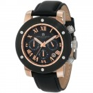 Charles-Hubert Men's Rose Gold-Plated Stainless Steel Black Dial Chronograph Watch #3893-BRG