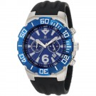 Charles-Hubert Men's Stainless Steel Blue Dial Chronograph Watch #3898-BE