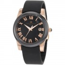 Charles-Hubert Women's Rose Gold-Plated Stainless Steel Black Ceramic Bezel Quartz Watch #6888-BRG