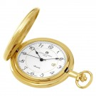 Gold-Plated Polished Finish Hunter Case Quartz Pocket Watch